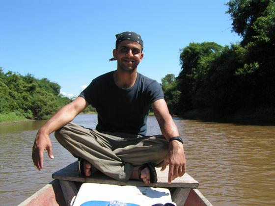 שייט בנהר בפמפס, בוליביה.