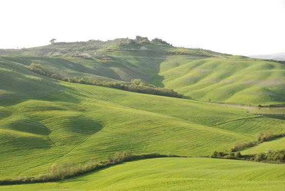 הרים ירוקים ומרחבים, טוסקנה, איטליה.
