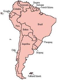 מפת דרום אמריקה לפי מדינות
